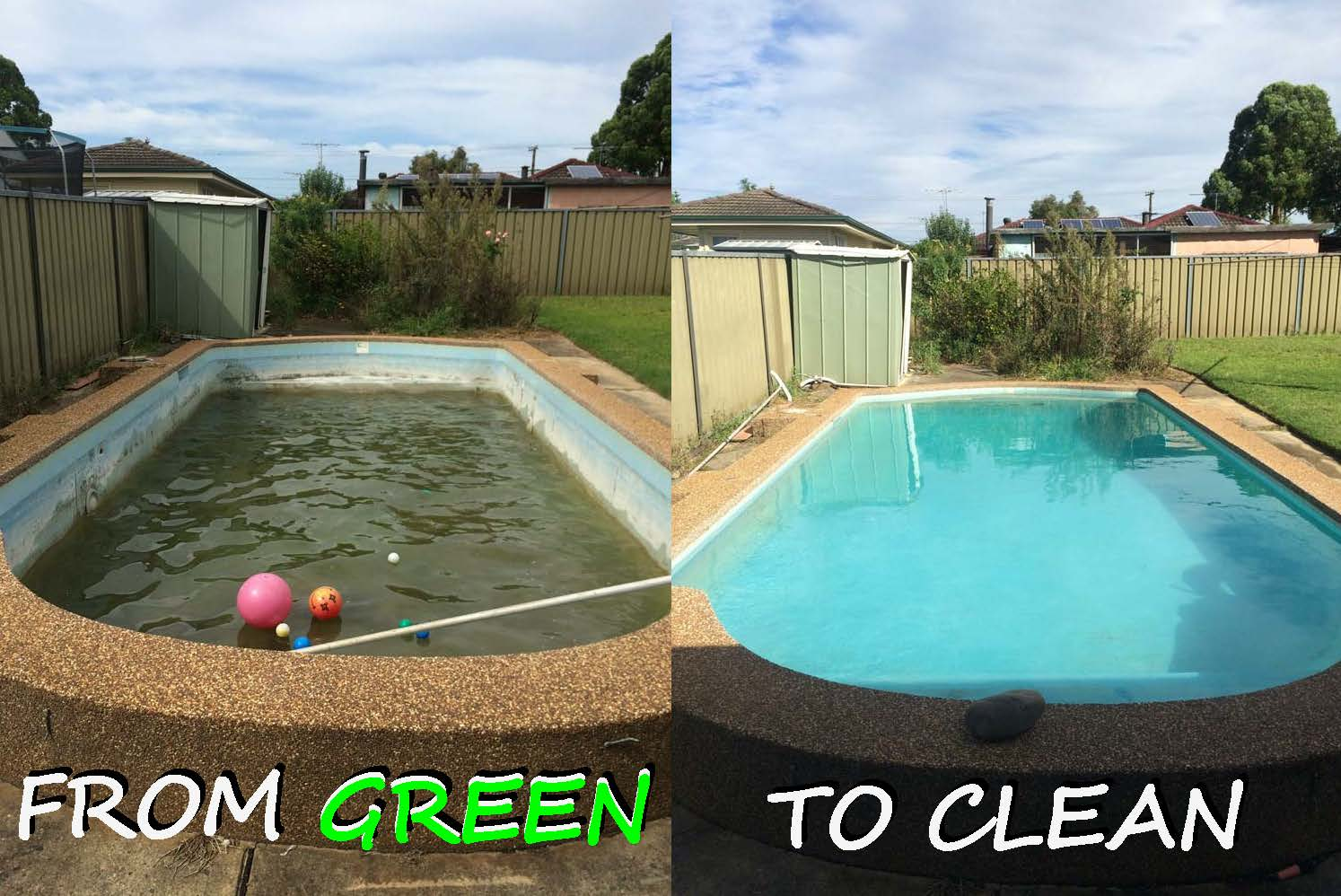 How to clean a neglected green swimming pool clean pools for Uses for old swimming pools